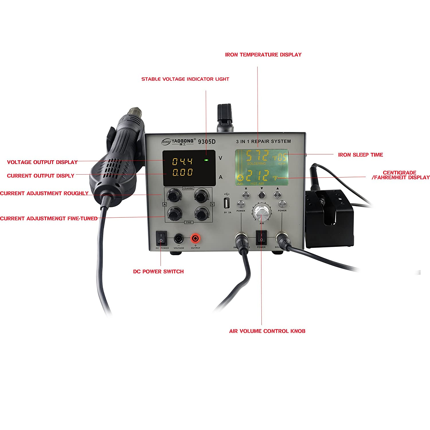 Yaogong 9305d Brushless 4 In 1 Digital Lcd Smd Rework Station Power Fahrenheit Wiring Diagram Supply 30v 5a With Usb Automatic Soldering Iron And Air Gunauto Manual Settings