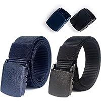"""Lalafancy Paquete de 2 hombres Cinturón 1.5"""" Nylon Cinturón de malla militar sin hebilla de metal"""