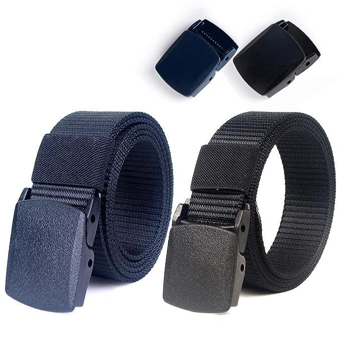 """Lalafancy Paquete de 2 hombres Cinturón 1.5""""Nylon Cinturón de malla militar sin hebilla de"""