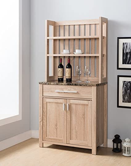 Simple Living Products Transitional Microwave Cart With Slatted Plank Hutch,  Kitchen Free Standing Storage Cabinet