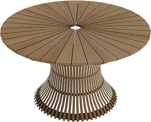 Dafnedesign. com – Mesa Redonda de jardín – Dimensiones: 130 x 130 cm h73- Mesa Swing Redondo diámetro CM 130 de Teca con Tablero de Teca (taburetes no Incluidas, venduti a Parte): Amazon.es: Jardín