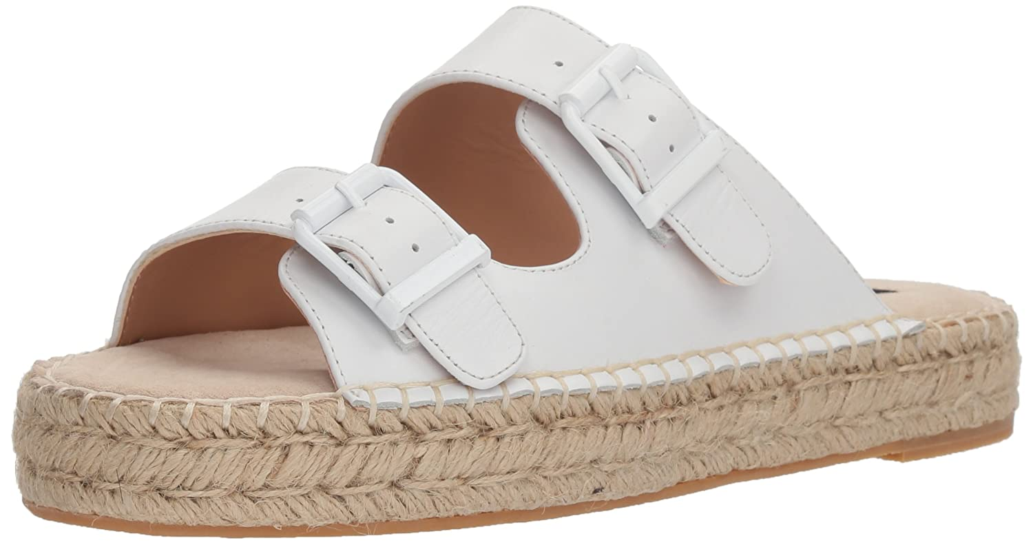 STEVEN by Steve Madden Women's Lapis Flat Sandal B07643PDNW 9.5 B(M) US|White Leather