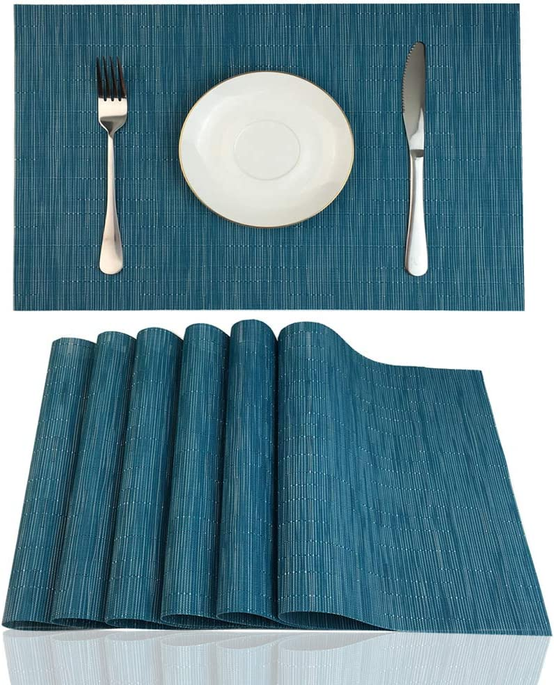 Red-A Placemats Set of 6 for Dining Table Heat-Resistant Washable Place Mats Woven Vinyl Kitchen Table Mats Easy to Clean,Blue