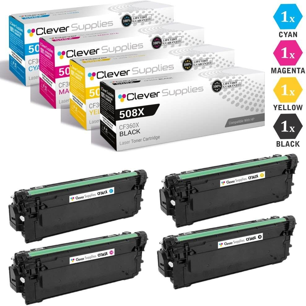 CS Compatible Toner Cartridge Replacement for HP 508A CF360X Black CF361A Cyan CF363A Magenta CF362A Yellow HP 508X Color Laserjet Enterprise M533X M552DN M553DN M553N M577C M577F M577Z 4 Color Set