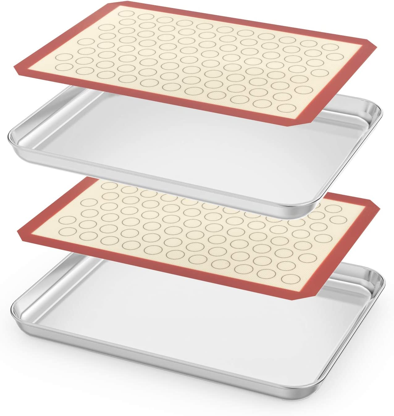 Baking Sheet with Silicone Mats - Estmoon 10 Inch Pure Stainless Steel Cookie Pan Tray Cooling Mat, Non Toxic & Healthy, Mirror Finish & Rust Free, Easy Clean (2 Sheets + 2 Mats)