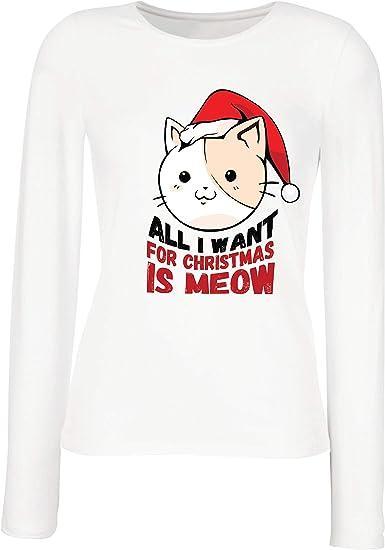 lepni.me Camisetas de Manga Larga para Mujer Todo lo Que Quiero para Navidad es la Idea del Regalo Miau, el Amante de los Gatos: Amazon.es: Ropa y accesorios