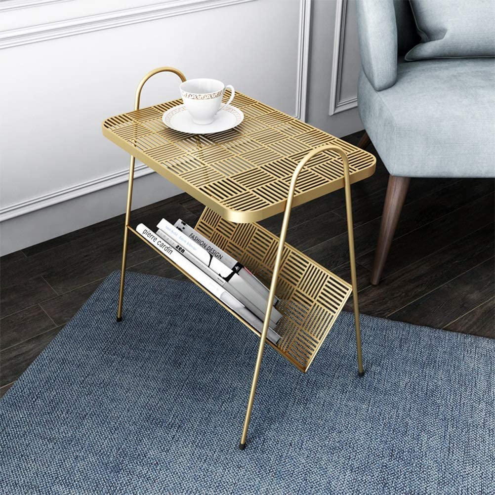 Verlaagde Prijs Iron Art Eenvoudige Home Decoration Creatieve Special-vormige Metalen Salontafel Multifunctionele Kleine Bijzettafel 4.11 (Color : Gold) Gold DMRUz3c