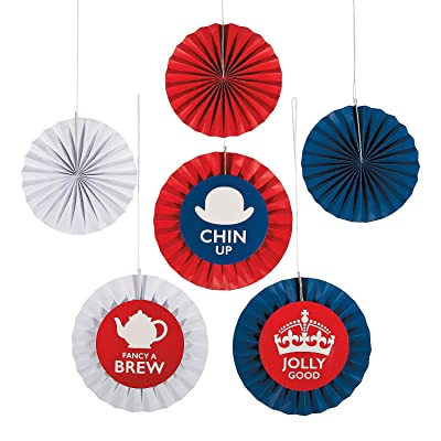 British Party Hanging Fans for Party - Party Decor - Hanging Decor - Misc Hanging Decor - Party - 12 Pieces: Toys & Games