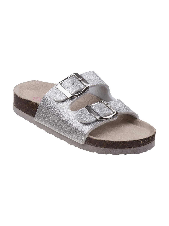 Laura Ashley Girls Silver Glitter Buckle Cork Footbed Slipper Sandals 11-4 Kids