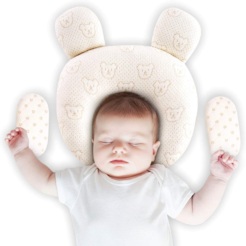Upchase Almohada Para Bebé, Recien Nacido Plagiocefalia Almohada Ortopédica, Bebe Para Evitar Cabeza Plana, Prevenir Antiasfixia, (2 Fundas de Almohada Desmontables), Natural Latex is Safer, Regalo