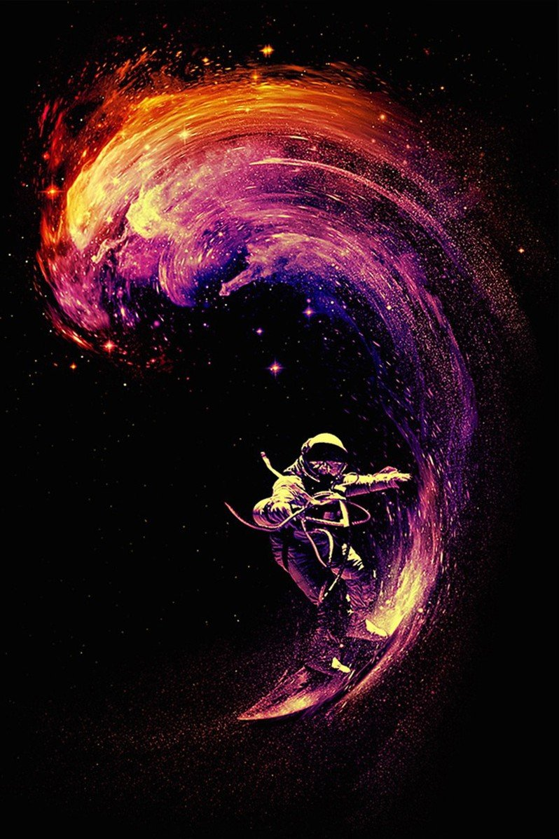 Surfing Extreme Sports Cosmos Space Astronaut Surfing Art Poster Print Wall Decorative Paper 20-Inch By 30-Inch by KWEI