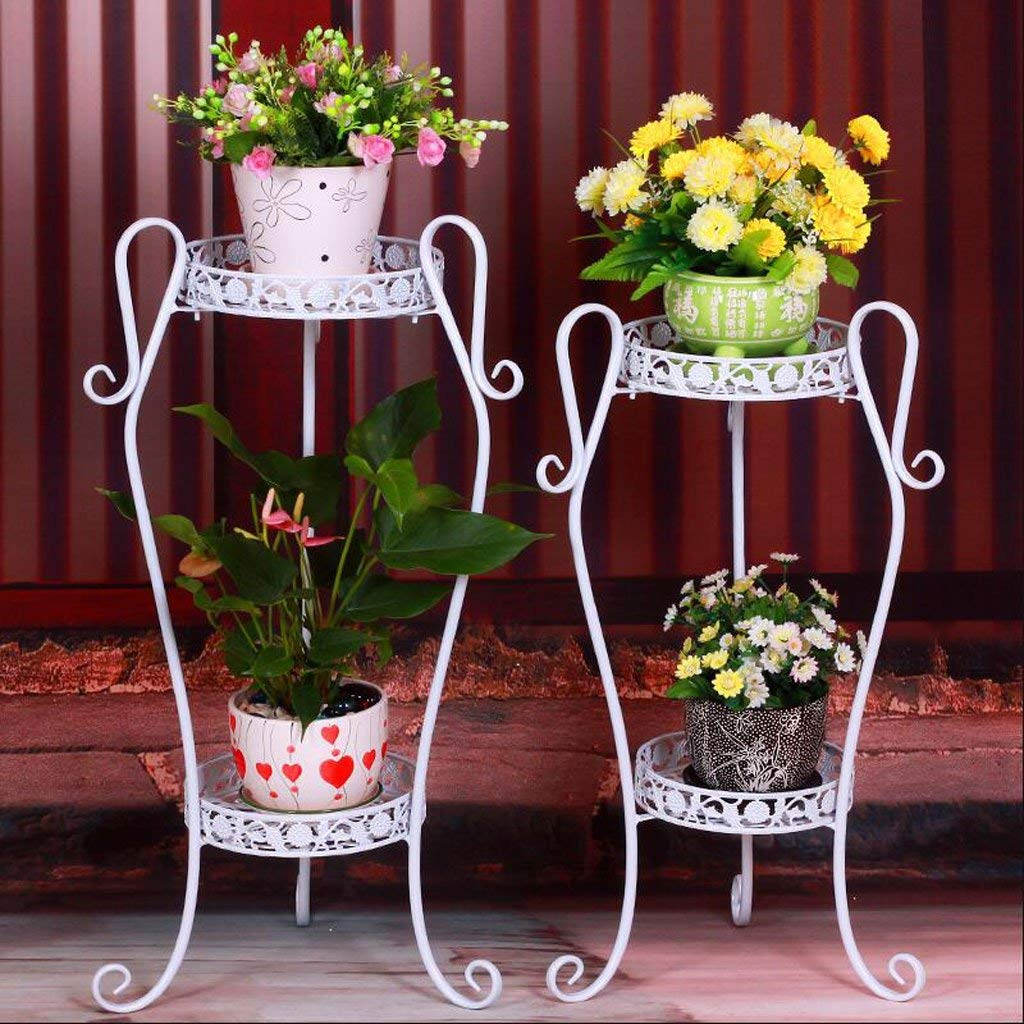 White Small Gifts & Decor Plant Stand Shelf Flower Racks Iron Art Multi-Layer Flower Stand Balcony Living Room with Flower Pot Rack Indoor Shelf Three-Dimensional Flower Stand (color   Yellow, Size   Large)