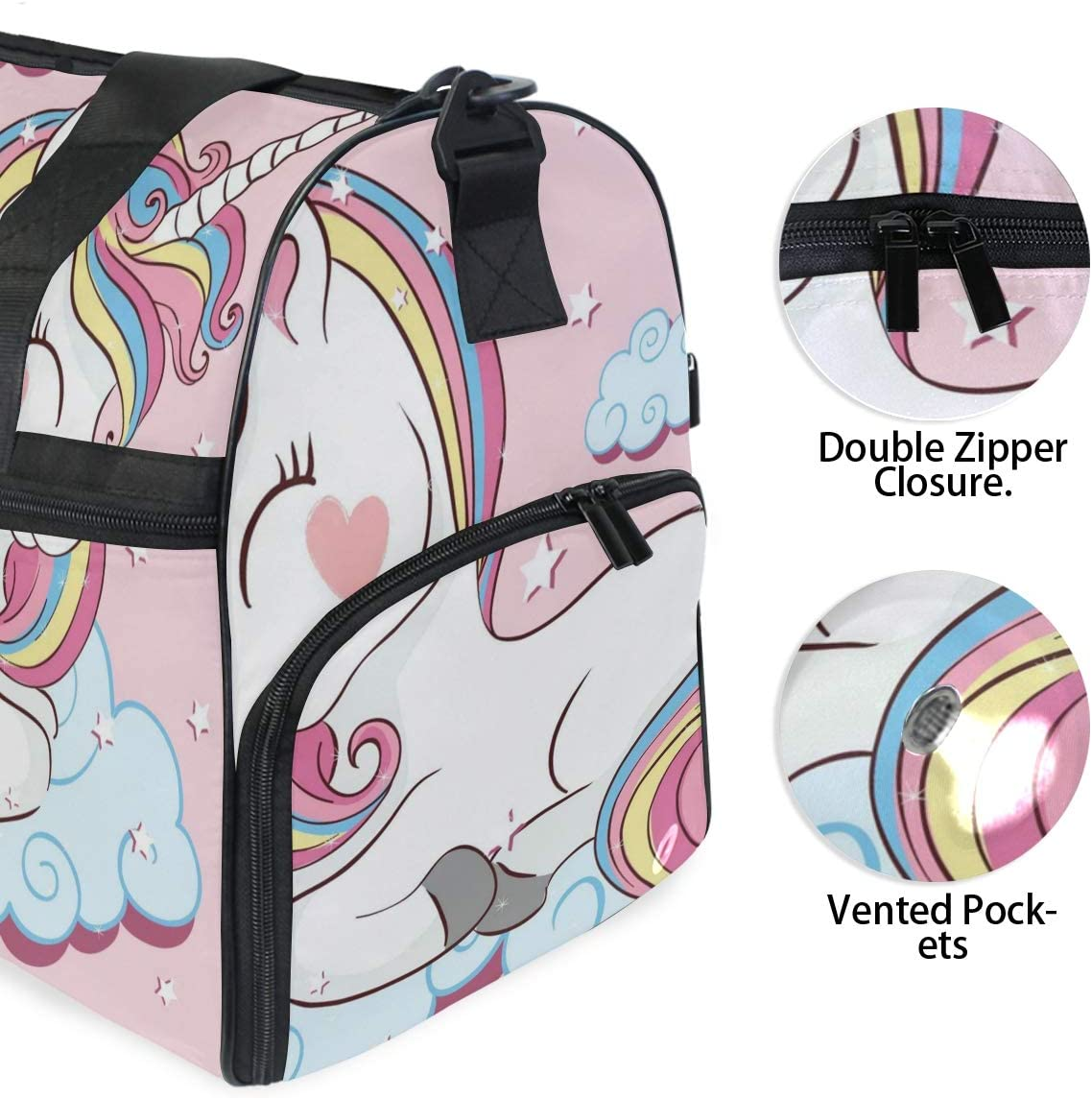 Beautiful Unicorn Sports Gym Bag with Shoes Compartment Travel Duffel Bag for Men and Women