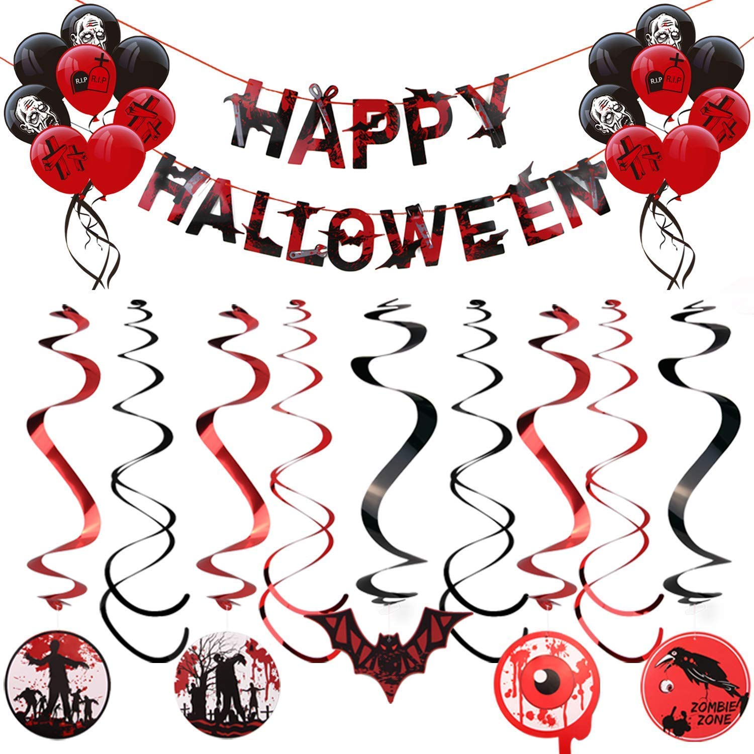 Jeyhoop Scary Hanging Happy Halloween Letters Decorations Kit Trick or Treat Theme Parties Festival Gifts Ceiling Wall Accessories with 1pcs Banner 2pack Rotating Foil Swirls 16pcs Balloons J433280001