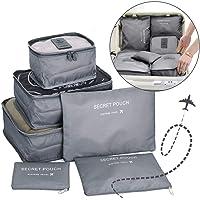 Go2buy 6pcs Travel Luggage Organizer Set Backpack Storage Pouches Suitcase Packing Bags (Grey)
