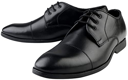 86b24c1d2eb7 Black Genuine Leather Formal Lace up Derby Branded Shoes for Men TPR Sole  Comfortable Pure Original