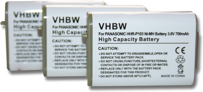 Set x 3 baterías vhbw 700mAh para teléfono Fijo inalámbrico sustituye General Electric GE TL26413, TL-26413, TL96413, TL-96413, ER-P507