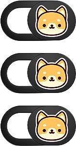 Webcam Cover Slide – 3 Pack| Ultra Thin Laptop Camera Cover | Protect Your Privacy | Cute Web Cam Block Slider for Laptop, Desktop, Tablet & Phone | Black (Dog)