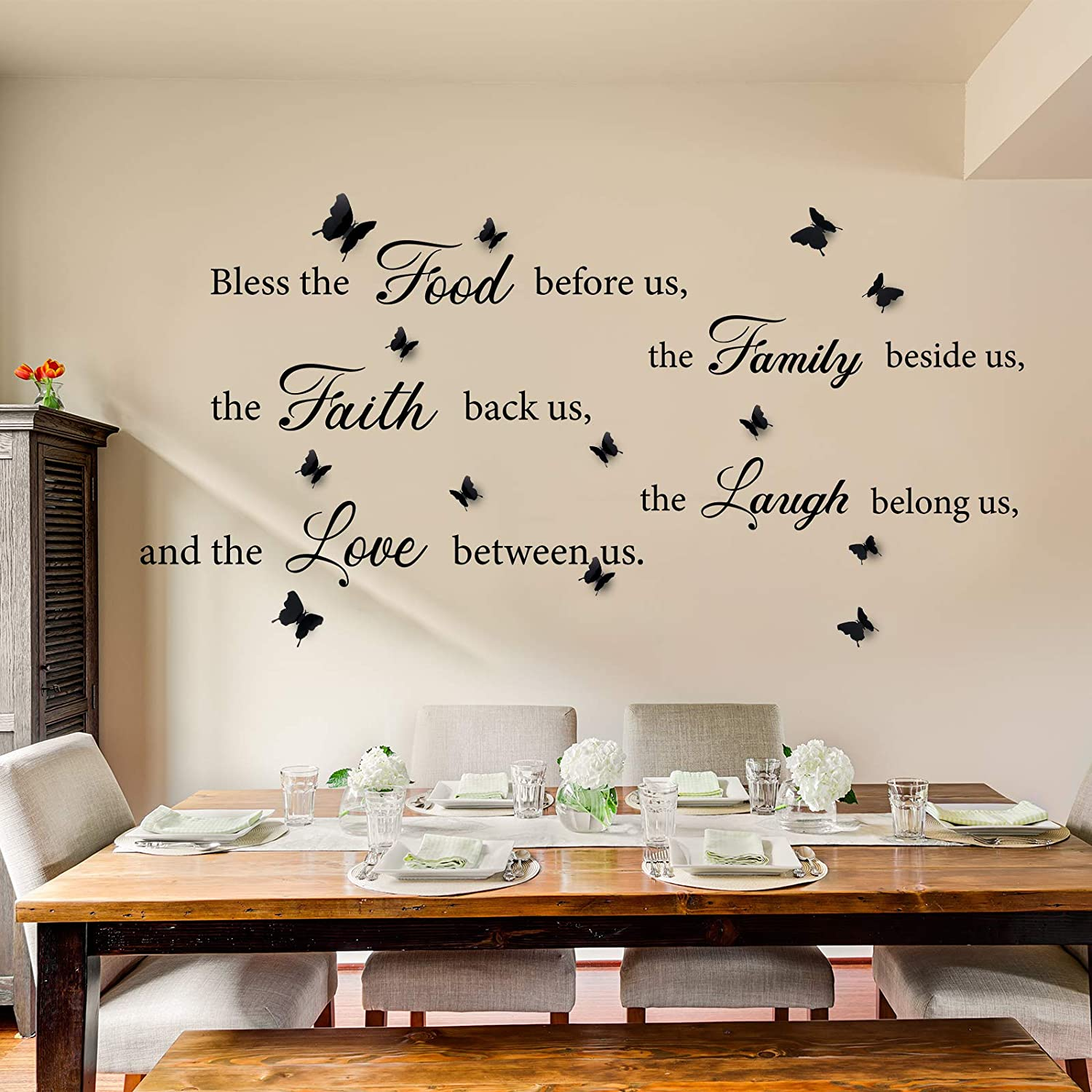 Kitchen Wall Decal, Bless The Food Before Us, The Family Beside Us, The Faith Back Us, The Laugh Belong Us, The Love Between Us, Dining Room Prayer Sticker Butterfly Positive Quote Thanksgiving Mural