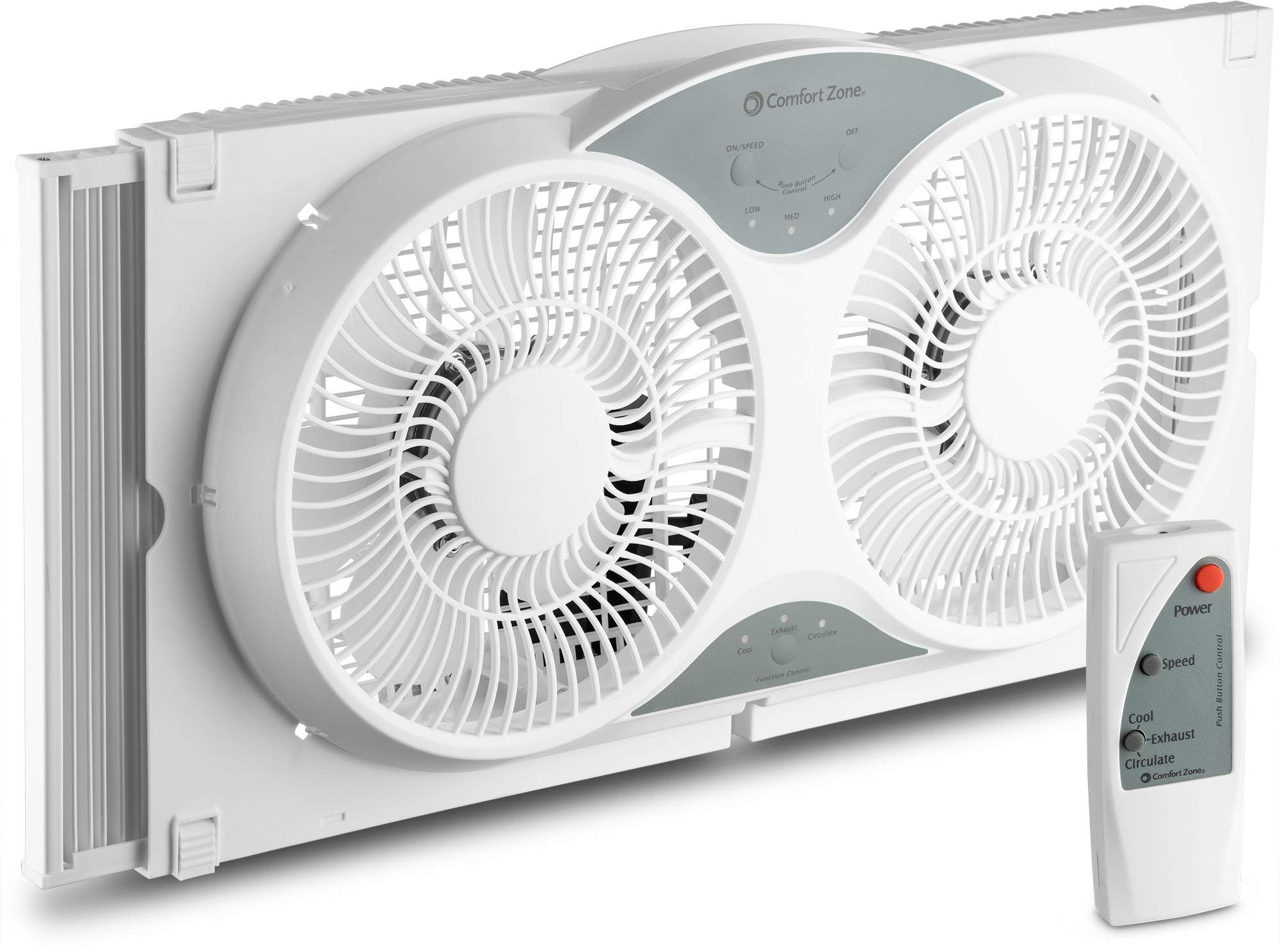 Bovado USA Twin Window Cooling Fan with Remote Control, Electronically Reversible, Includes Bug Screen and Fabric Cover, Locking Extenders to fit Large Windows (Min. 23.5in Max. 37in) (Renewed) by BOVADO USA