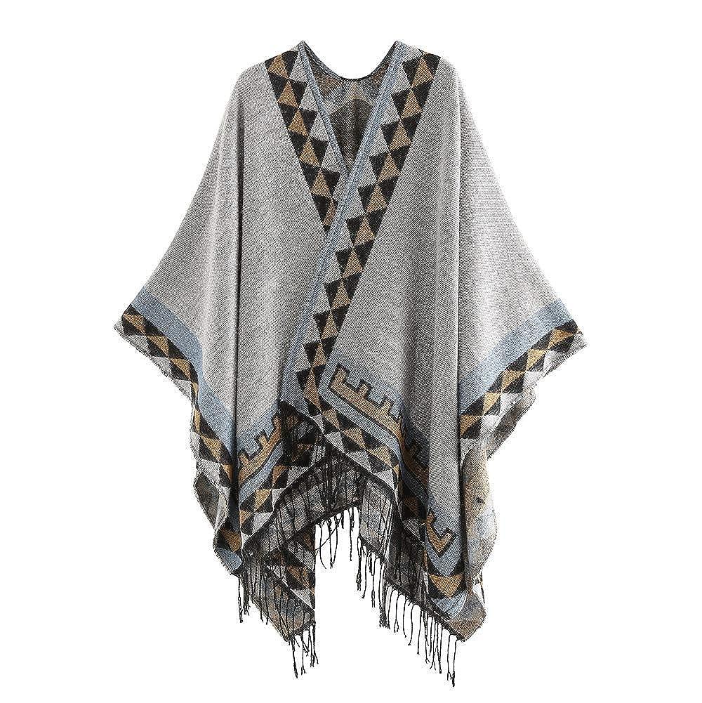Womens Color Stitch Cashmere Wool Shawl Wrap Poncho Cape Tassel Soft Neck Scarf