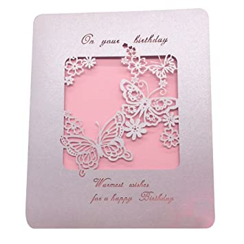 Buy Magideal 10 Lot Handmade HAPPY BIRTHDAY Greeting Card Hollow Out Butterfly Cover Pink Online At Low Prices In India