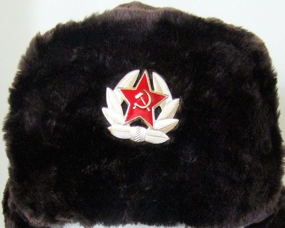 d9e77274f3c Authentic Russian Military Dark Brown KGB Ushanka Hat W Soviet Red Army  Badge at Amazon Men s Clothing store