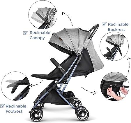 Besrey Silla Paseo Bebe Ligera Compacta Cochecito Viaje Avión 4,9 kg Carritos de Bebe Plegable 6-36 Meses …