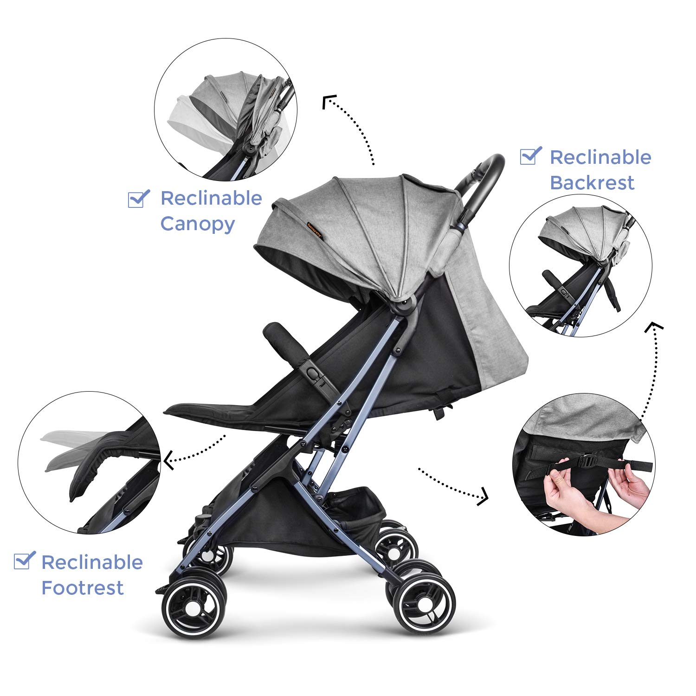 Besrey Silla Paseo Bebe Ligera Compacta Cochecito Viaje Avi/ón 4,9 kg Carritos de Bebe Plegable 6-36 Meses