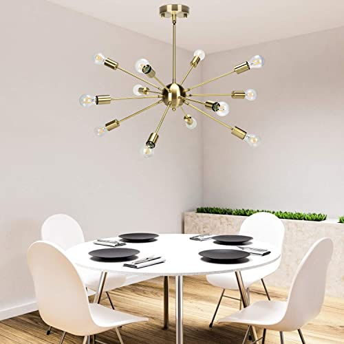 Chandelier Lighting, Modern Metal 12-Light Ceiling Light Lighting Fixture for Living Room, Bedroom, Dining Room, Kitchen Gold Brass Bulb Not Included