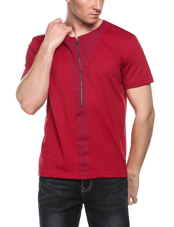 COOFANDY Mens Hipster Hip Hop T-Shirt Fashion Half Zipper Short Sleeve Shirts Red Large AMJ005762/_R/_L