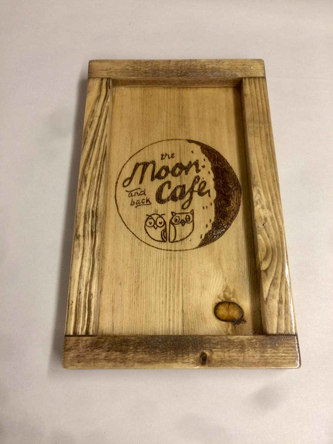 Restaurant guest check tray, Personalized wood guest check presenter, small rustic tray