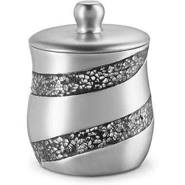 Dwellza Silver Mosaic Q Tip Holder (3.8 x 3.8  4.9 ) - Decorative Cotton Ball Jar- Durable Resin Swab Container- Beautiful Bathroom Vanity Accessories- Elegant Bath Storage (Silver Gary)