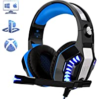 Gaming Headset for PC PS4, Beexcellent Stereo Deep Bass Surround Sound Gaming Headphones with Microphone Noise Isolation Volume Control LED Lights for Laptops Mac Smartphone (Blue Black)