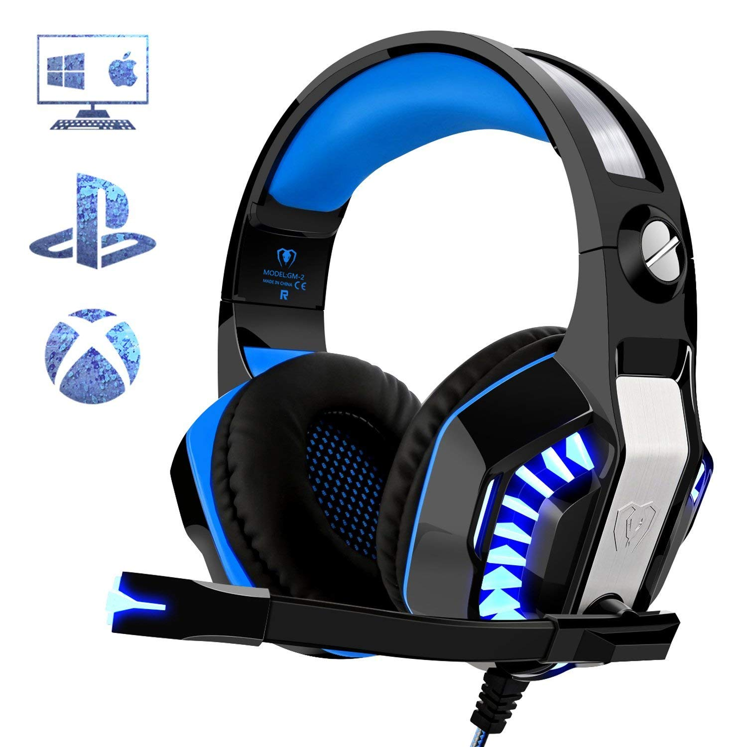 Gaming Headset for PC PS4, Beexcellent Stereo Deep Bass Surround Sound  Gaming Headphones with Microphone Noise Isolation Volume Control LED Lights  for ...