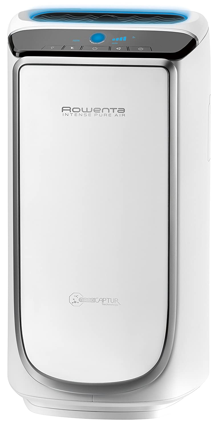 Rowenta PU4020 Intense Pure Air Mid-Sized Air Purifier with Pollution Sensors and 4-Filters Including HEPA Filter and Formaldehyde-Free Technology and Odor Eliminator, 21-Inch, White