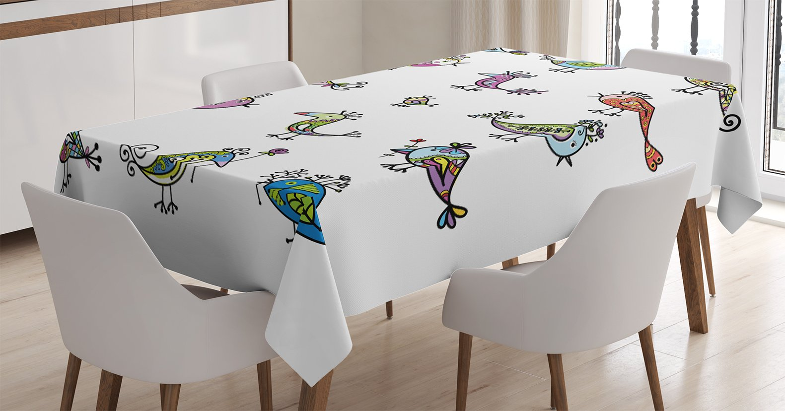 Ambesonne Funny Decor Tablecloth, Cute Colorful Bird Family with Floral Ethnic Ornaments Embellished Wings Animal Theme Print, Rectangular Table Cover for Dining Room Kitchen, 60x90 Inches, Multi