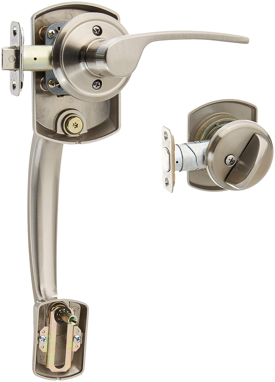 Greenwich Active Door Handleset with Merano Right Hand Interior Schlage F60GRW619MER RH Satin Nickel Philadelphia Hardware Group