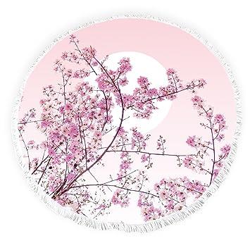 Yun Nist Toallas de playa redondas con borlas japonesas flor cerezo flecos círculo grueso gitano alfombra de picnic yoga: Amazon.es: Hogar