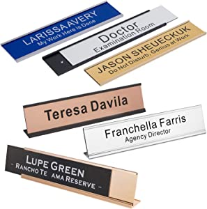 "Personalized Office Engraved Name Plate with Wall or Desk Holder 2""x10"""