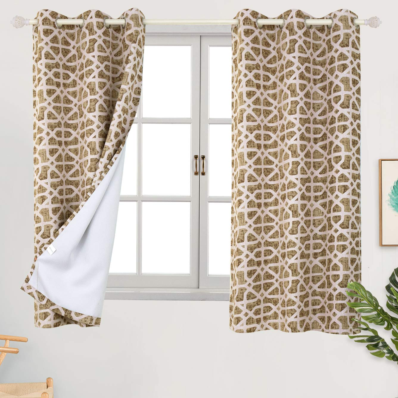 38 x 45 Inch, Green BGment Moroccan Printed Blackout Curtains for Bedroom Set of 2 Panels Grommet Thermal Insulated Room Darkening Lattice Floral Curtains for Living Room