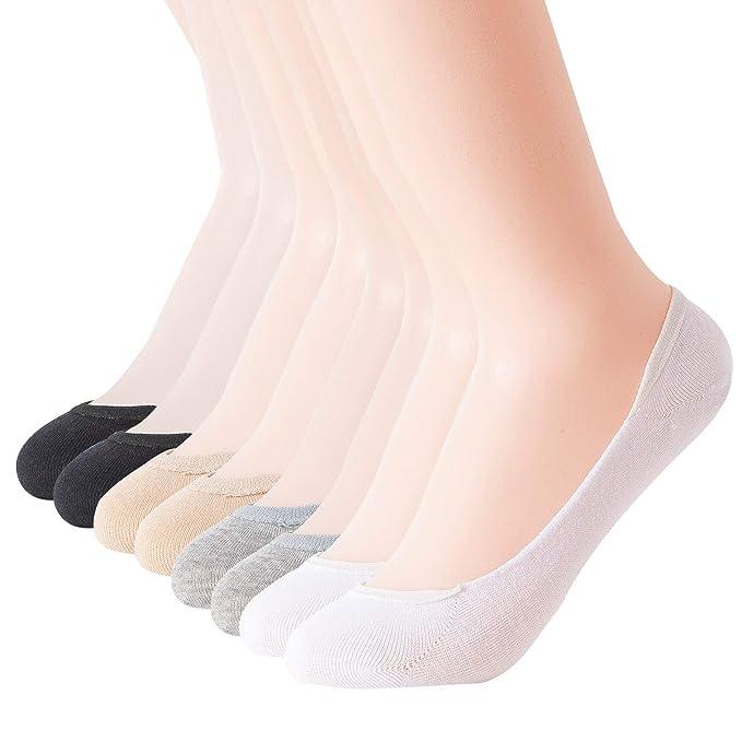 Ougenni 8 Pares de Calcetines de Corte Ultra Bajo de Catoon Calcetines Invisibles Antideslizantes Para Zapatos de Barco Zapatillas de Deporte y Mocasines: ...