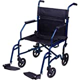 Carex Transport Wheelchair With 19 inch Seat - Folding Transport Chair with Foot Rests - Foldable Wheel Chair for Travel and