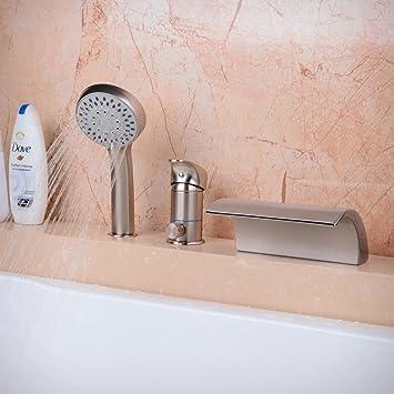 Hiendure Deck Mounted Roman Tub Faucet 3pcs Waterfall Spout Single Handle  Bathtub Filler Faucet With Hand