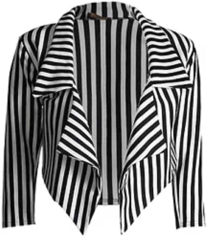 Janisramone Donne Signore Nuovo Bianca Striscia Stampa 3//4 Manica Aperto Davanti Cascata Cropped Blazer Giacca Cappotto