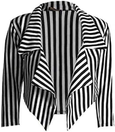 Women Ladies Black /& White Vertical Stripe Waterfall Cropped Blazer  Jacket Top