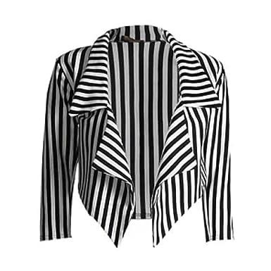 Janisramone ladies casual black white striped cropped waterfall ...