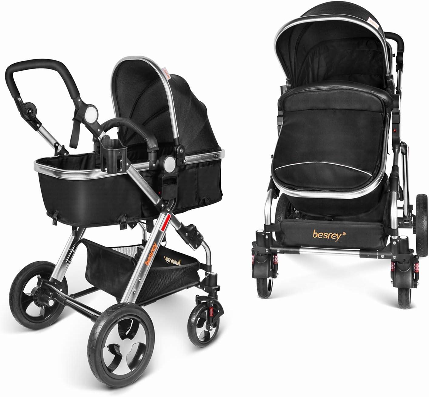 Besrey Carro Bebe Carrito 2 en 1 Cochecito para bebe infantil 0-36 meses Gran Rueda Con Cinturón de seguridad