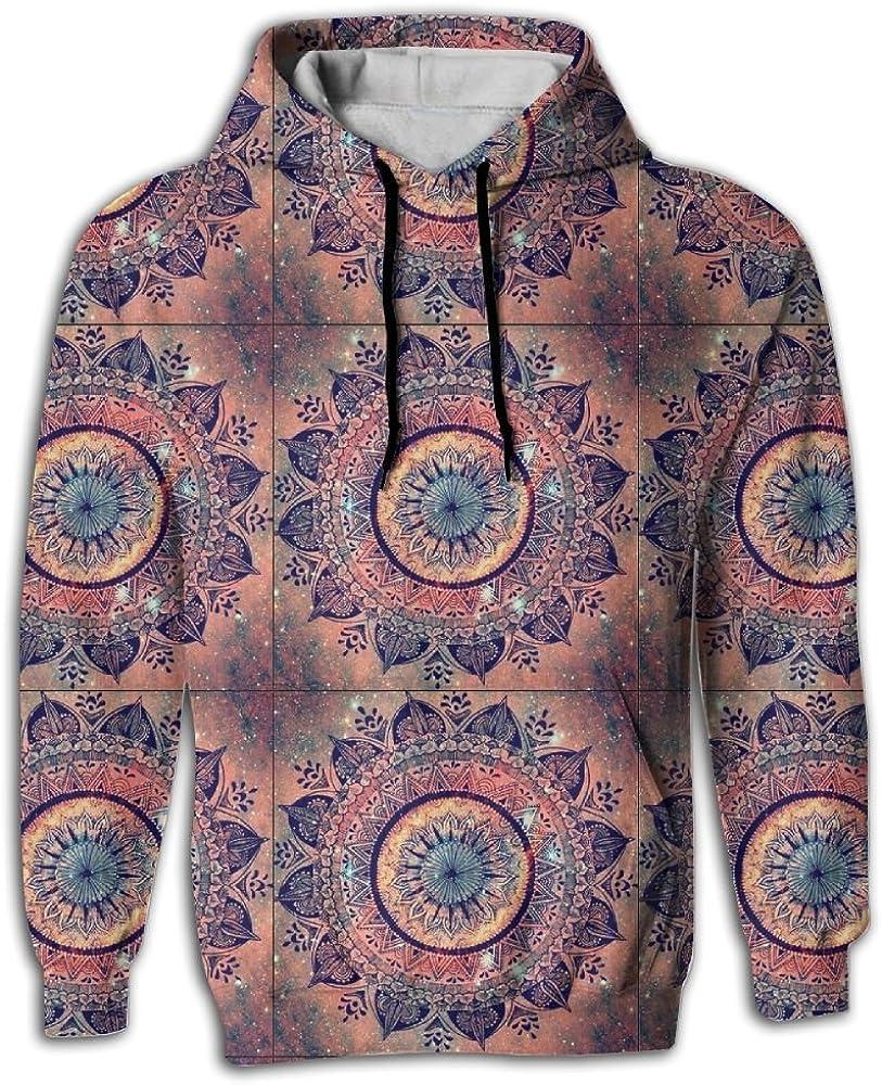 FUSALIN Amazing Floral MandalaUnisex 3D Printed Sweatshirt Casual Pullover Hoodie With Big Pockets