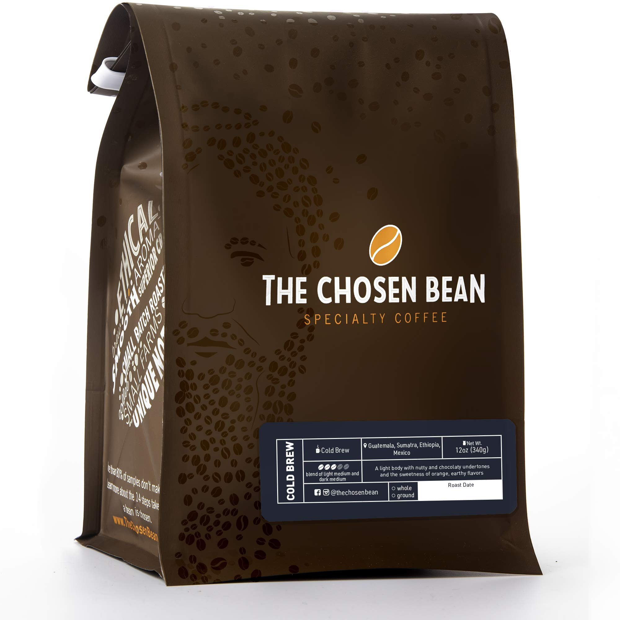 The Chosen Bean Premium Artisan Cold Brew Ground Coffee Beans, Small Batch Roasted, Organic and Fair Trade Roasters, 12 oz